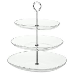 КВИТТЕРА Сервировочн подставка, 3 яруса, прозрачное стекло, нержавеющ сталь