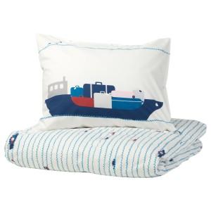 УППТОГ Пододеяльник и 1 наволочка, орнамент «волны/корабли», синий