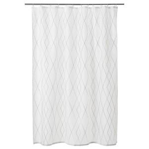БАСТШЁН Штора для ванной, белый, серый/бежевый