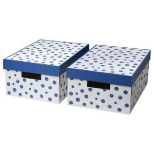 ПИНГЛА Коробка с крышкой, точечный, синий, 2шт