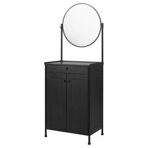КОРНШЁ Тумба с зеркалом, черный
