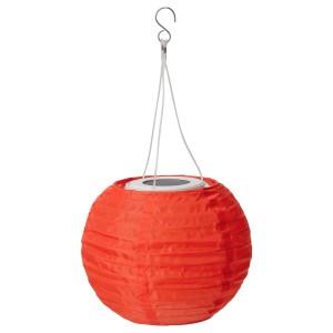 СОЛВИДЕН Подвесная светодиодная лампа, для сада, шаровидный оранжевый