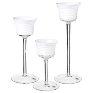 ИНБЬЮДЕН Подсвечник для греющей свечи,3 шт, прозрачное стекло, стекло белый