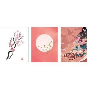 БИЛЬД Постер, Ветка вишни в цвету, 3шт