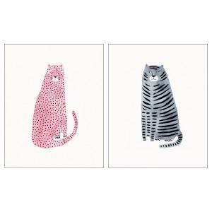 БИЛЬД Постер, розовый и синий коты, 2шт