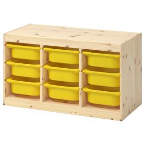 ТРУФАСТ Комбинация д/хранения+контейнеры, светлая беленая сосна, желтый