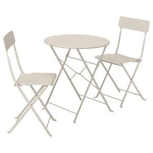 САЛЬТХОЛЬМЕН Стол+2 складных стула,д/сада, бежевый