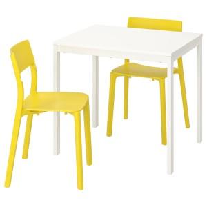 ВАНГСТА / ЯН-ИНГЕ Стол и 2 стула, белый, желтый