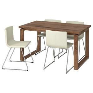 МОРБИЛОНГА / БЕРНГАРД Стол и 4 стула, коричневый, Мьюк белый