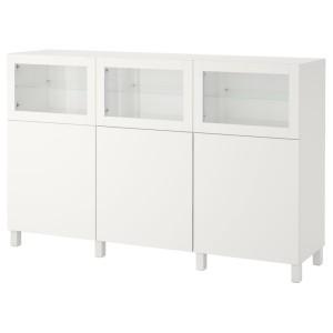 БЕСТО Комбинация для хранения с дверцами, белый Лаппвикен, Синдвик белый прозрачное стекло