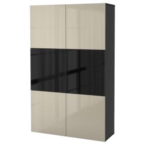 БЕСТО Комбинация д/хранения+стекл дверц, черно-коричневый, Сельсвикен глянцевый/бежевый/дымчатое стекло