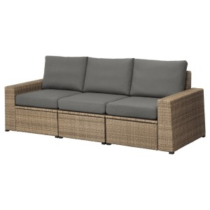 СОЛЛЕРОН 3-местный модульный диван, садовый, коричневый, ФРЁСЁН/ДУВХОЛЬМЕН темно-серый
