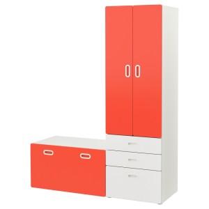 СТУВА / ФРИТИДС Гардероб и скамья с ящиком, белый, красный