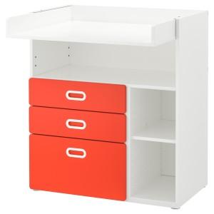 СТУВА / ФРИТИДС Пеленальный стол с ящиками, белый, красный
