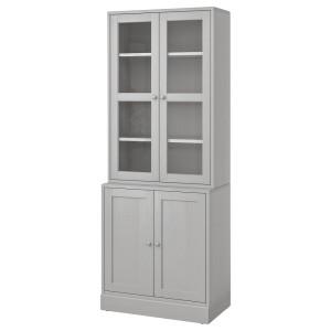ХАВСТА Комбинация для хранения с сткл двр, серый