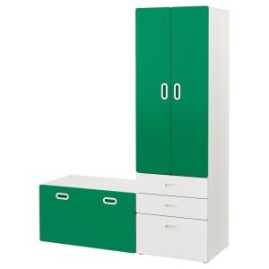 СТУВА / ФРИТИДС Гардероб и скамья с ящиком, белый, зеленый
