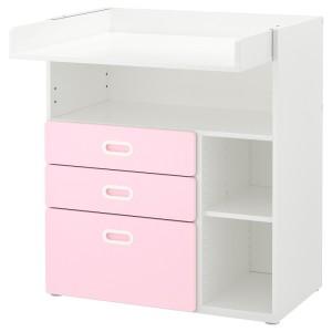 СТУВА / ФРИТИДС Пеленальный стол с ящиками, белый, светло-розовый