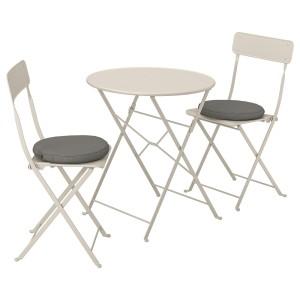 САЛЬТХОЛЬМЕН Стол+2 складных стула,д/сада, бежевый, ФРЁСЁН/ДУВХОЛЬМЕН темно-серый