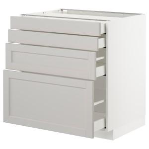 МЕТОД / МАКСИМЕРА Напольн шкаф 4 фронт панели/4 ящика, белый, Лерхюттан светло-серый