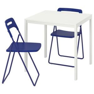 МЕЛЬТОРП / НИССЕ Стол и 2 складных стула, белый, темный сине-сиреневый