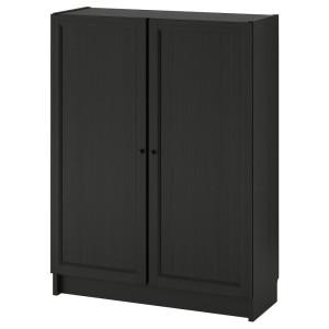 БИЛЛИ / ОКСБЕРГ Стеллаж с дверьми, черно-коричневый