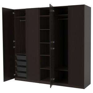ПАКС Гардероб, черно-коричневый, Форсанд под мореный ясень, черно-коричневый