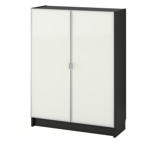 БИЛЛИ / МОРЛИДЕН Шкаф книжный со стеклянными дверьми, черно-коричневый, стекло