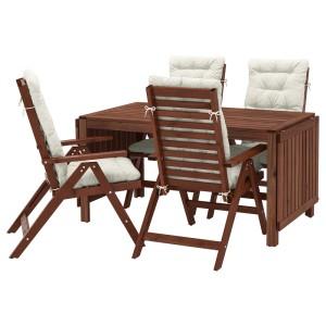 ЭПЛАРО Стол+4 кресла, д/сада, коричневая морилка, Куддарна бежевый