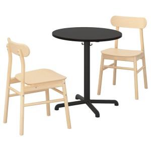 СТЕНСЕЛЕ / РЁННИНГЕ Стол и 2 стула, антрацит, антрацит береза