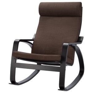 ПОЭНГ Кресло-качалка, черно-коричневый, Шифтебу коричневый