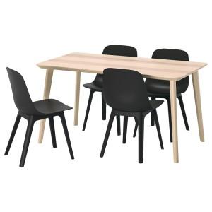 ЛИСАБО / ОДГЕР Стол и 4 стула, ясеневый шпон, антрацит