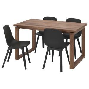 МОРБИЛОНГА / ОДГЕР Стол и 4 стула, дубовый шпон коричневая морилка, антрацит