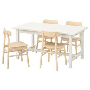 НОРДВИКЕН / РЁННИНГЕ Стол и 4 стула, белый, береза