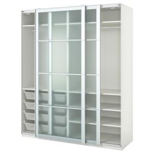 ПАКС Гардероб, белый, Нюкирха закаленное стекло,орнамент «клетка»