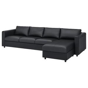 ВИМЛЕ 4-местный диван, с козеткой, Гранн/Бумстад черный