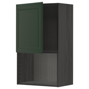МЕТОД Навесной шкаф для СВЧ-печи, черный, Будбин темно-зеленый
