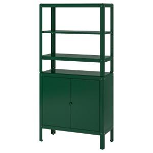 КОЛЬБЬЁРН Стеллаж с 1 шкафчиком, зеленый
