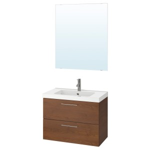 ГОДМОРГОН / ОДЕНСВИК Комплект мебели для ванной,4 предм., под коричневый мореный ясень, ДАЛЬШЕР смеситель