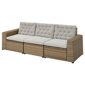 СОЛЛЕРОН 3-местный модульный диван, садовый, коричневый, Куддарна серый