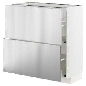 МЕТОД / МАКСИМЕРА Напольный шкаф с 2 ящиками, белый, Ворста нержавеющ сталь