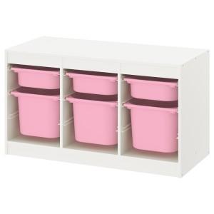 ТРУФАСТ Комбинация д/хранения+контейнеры, белый розовый, розовый