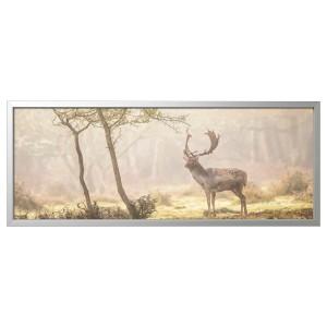 БЬЁРКСТА Картина с рамой, Олень на поляне, цвет алюминия