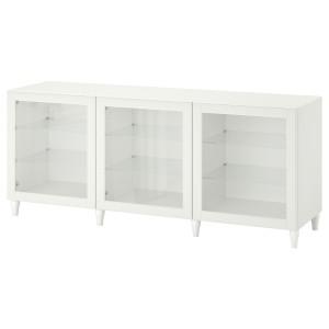 БЕСТО Комбинация для хранения с дверцами, белый, ОСТВИК/КАББАРП белый прозрачное стекло