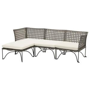ЮТХОЛЬМЕН 3-местный модульный диван, садовый, темно-серый, Куддарна бежевый