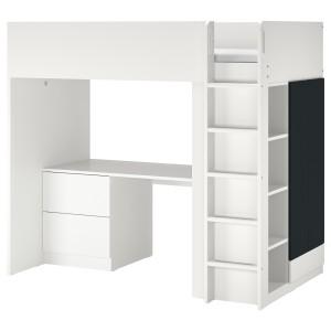 СМОСТАД Кровать-чердак, белый поверхность доски для записей, с письменным столом с 3 ящиками