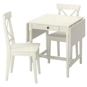 ИНГАТОРП / ИНГОЛЬФ Стол и 2 стула, белый, белый