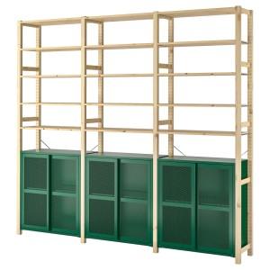 ИВАР 3 секции/шкаф/полки, сосна, зеленый сетка