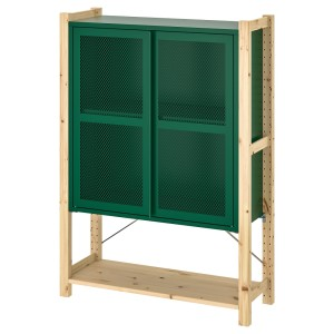 ИВАР 1 секция/полки/шкаф, сосна, зеленый сетка