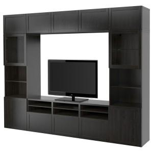 БЕСТО Шкаф для ТВ, комбин/стеклян дверцы, черно-коричневый, Ханвикен черно-коричневый прозрачное стекло