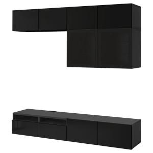 БЕСТО Шкаф для ТВ, комбин/стеклян дверцы, черно-коричневый, Сельсвикен глянцевый/черный дымчатое стекло
